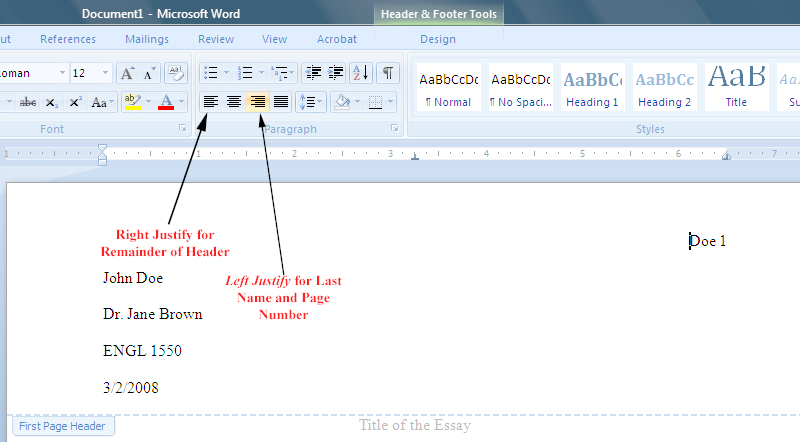 setting your essay to mla format in word 2007 Hit the tab key once, and you are ready to type the first paragraph of your paper note: one-inch margins are the default (automatic) setting in word 2010 however, if you need to set the margins, click the page layout tab, click margins, and choose normal never use the ruler to set the margins saving the paper click the file tab, and choose.